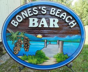 Bone's Beach Bar,West side road Vernon BC,recreational property cedar sign,Okanogan Lake,Condor signs Vernon BC,sand blasted,hand made,hand painted,custom,sign for all needs