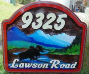 9325 Lawson Road,residential sandblasted cedar sign,Smithers BC,moose in front of mountains,artist painted landscape,acreage cedar sign,Conorsigns Vernon BC.Canada