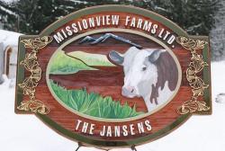 Reda nd cow cedar sign