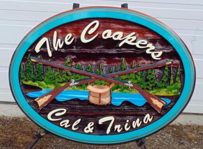 Cedar sign custom nade artist painted cedar sign Kelowna BC