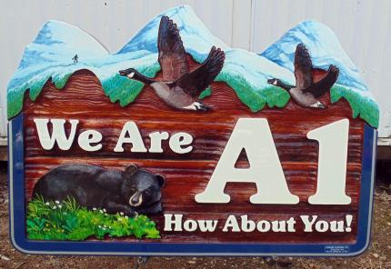 We are A1,Newport beach Vernon BC,fun recreational property sand blasted cedar sign,hand painted bears,geese,Sasquatch,custom made,hand painted,Condor signs Vernon BC,ships world wide,