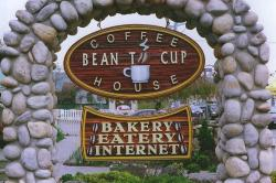 Bean to Cup Coffee House Vernon BC Bakery Eatery Internet. custom sand blasted cedar business sign for restaraunt