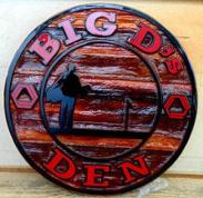 Big D`S Den ,bar, restaraunt,lounge,night club,sand blasted cedar business signs,Condor signs gallery of sand blasted signs