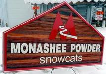 Monashee Powder Snowcats,Vernon BC, resort for powder skiing,outdoor activities,high quality sanblasted cedar signs for any type of business