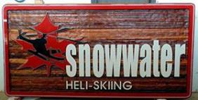 Snowwater Heli-skiing Nelson BC,helicopter handcrafted artist painted cedar sign for reesort,business sign for skiers,snowmobile,snow shoers,out doors