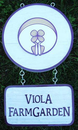Viola Farm Garden sand blasted cedar sign,organic produce signs,farm and ranch signs,acreage signs,Business signs of all kinds,hand painted hand crafted by Condor signs Vernon,BC