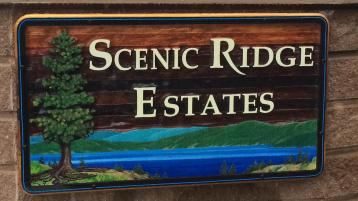 Sandblasted,cedar, development sign,for Scenic Ridge Estates Vernon BC by Condor signs quality handcrafted and artist painted signs. .