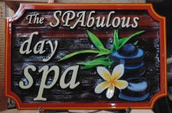 Sandblasted wood sign For The SPAbulous Day Spa in West side BC.wood business signs of all kinds by condor systems vernonbc.