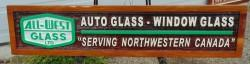business sign Cedar sand carved  All West Glass Smithers BC. auto glass,window glasss custom made by Condor systems Vernon BC. C