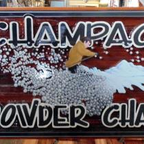 Champagne Powder Chalet sandblasted cedar sign after repair and restoration by Condor Systems Vernon BC