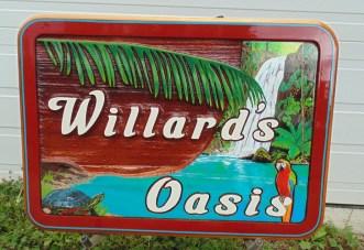 Sandblasted artist painted custom hand made cedar sign for Sean and Tasha Willard Red Deer Alberta manufactured by Condor signs Vernon BC