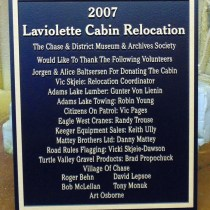 Bronze memorial plaque for Laviolette Cabin Relocation for the Chase Museum by condor signs Vernon BC