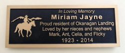 bronze memorial plaque for a park bench in Vernon BC.Custom designed by Condor signs