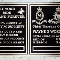 Worobey custom metal headstone/memorial plaque in bronze by Condors signs Vernon BC