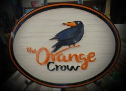 "Edmonton wooden sign ""The Orange Crow"" sand blasted wooden sign by Condor Signs Vernon BC"