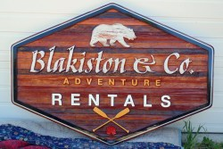 Waterton National Park Blakiston & Co. Adventure rentals wood sign sandblasted cedar by Vernon BC sign makers Condor Signs