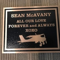 metal headstone/memorial plaque in cast bronze for Sean McAvany Fort St.john BC by Vernon BC. sign makers Condor Signs