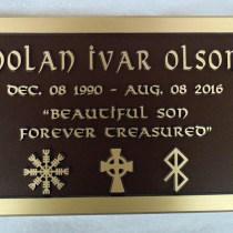 custom metal headstone/memorial plaque in bronze for Nolan Ivar Olson by Vernon BC sign maker Condor Signs