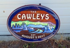 wooden sign The Cawleys sandblasted cedar artist painted by Vernon signs maker Condor Signs