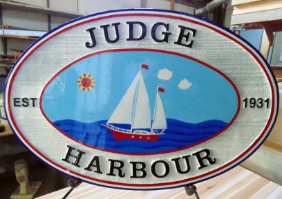 Judge Harbour Edmonton cottage sign made for solid cedar wood by Condor Signs BC