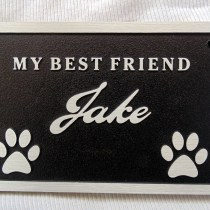 Metal aluminum Memorial plaque for man's best friend custom designed by supplied by Condor Signs Vernon BC