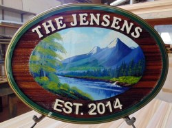 Great wedding gift a artist painted sandblasted cedar sign by Condor Signs Vernon BC