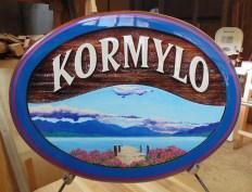 cedar sandblasted sign cottage on Okanagan Lake BC custom made and artist painted bt Condor Signs Vernon BC Canada