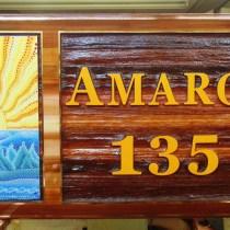 Australian aboriginal art sandblasted cedar sign for Silver Star Resort Vernon BC rental property by Condor Signs.