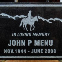 Grave marker in granite sandblasted and designed by Condor Signs Vernon BC