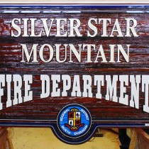 Silver Star Mountain Fire Department sandblasted cedar sign after restoration by Condor signs.