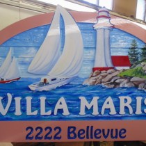 Villa Maris.Another sanblasted, artist painted new sandblasted cedar sign to replace the old one wood sign restoration and rebuilds by Condor signs Vernon BC