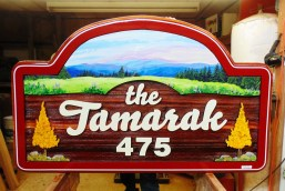 """The Tamarak"" Silver Star Ski resort sandblasted artist painted custom cedar sign by Condor Signs Vernon BC"