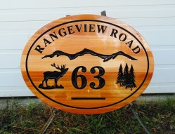 Farm acreage V routed cedar sign for Lumby BC.Condor Signs Vernon BC.