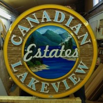 Canadian Lakeview Estates restored sand blasted cedar sign.This was also artist painted by Condor Sign Vernon BC