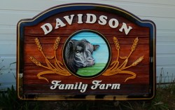 Farm ranch or acreage.we make sandblasted artist painted cedar signs wood signs custom made by Condor Signs Vernon BC
