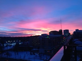 Winter Sunset at The Condos At 3000 Farnam