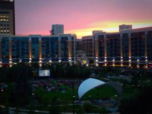 View of Monday Night Movies at Turner Park - Midtown Crossing - from The Mini Groovy Condo Balcony at 3000 Farnam
