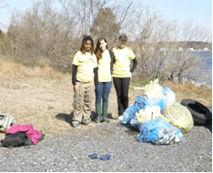 St. Mary's College Cares volunteers collect trash along the shore of St. Clement's Island State Park