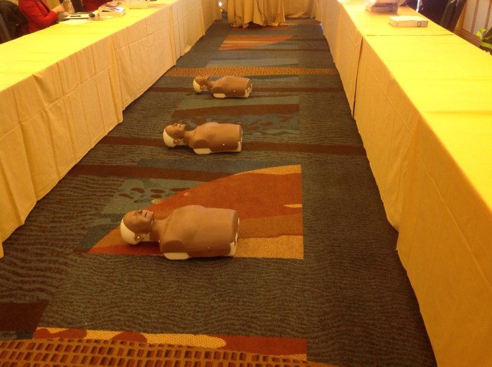 CPR training dolls awaiting action.