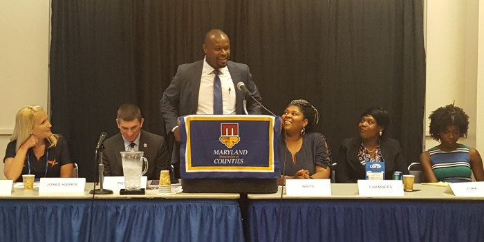 Second Chance panel from left to right: Melissa Jones-Harris, Michael Piercy, Delegate McCray, Carnitra White, Ernestine Chambers, Caryn York