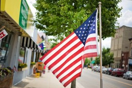 town street with american flag