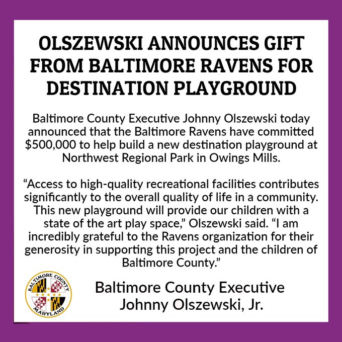 Baltimore County Executive Announces $500K Gift from Baltimore Ravens for Destination Playground