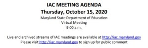 Maryland Interagency Commission on School Construction – October 15, 2020 Agenda