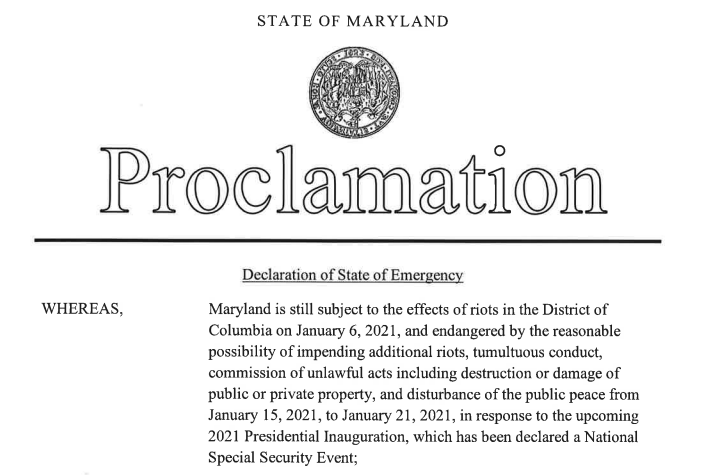 Hogan Declares State of Emergency for Presidential Inauguration