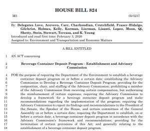 Bill Introduced Mandating Bottle Deposit Program