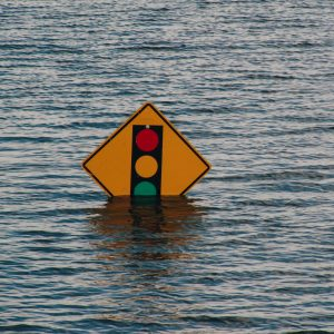 picture of a stoplight ahead sign partially submerged in water