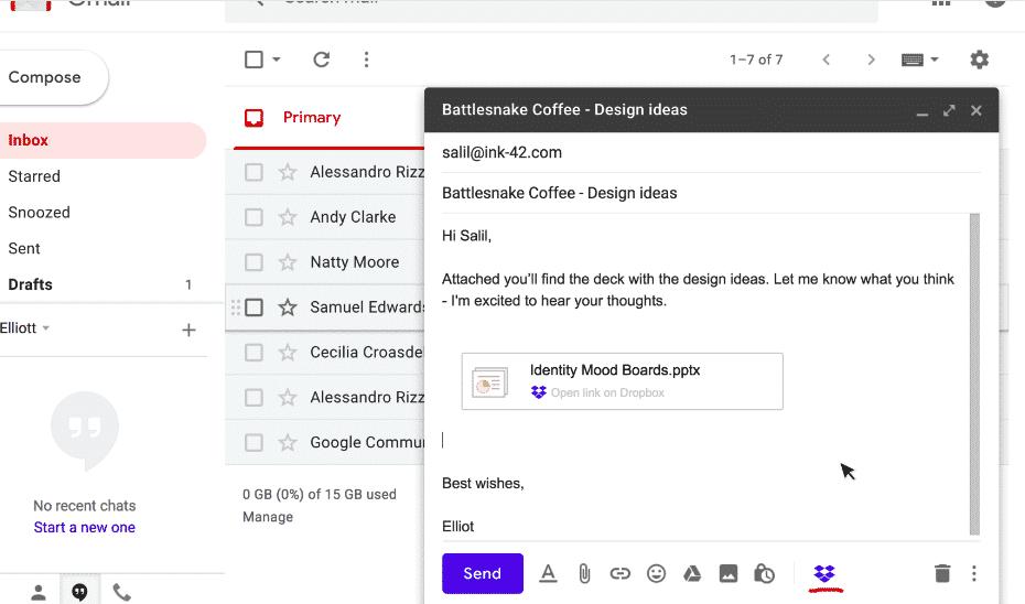 Complemento Dropbox para o Gmail