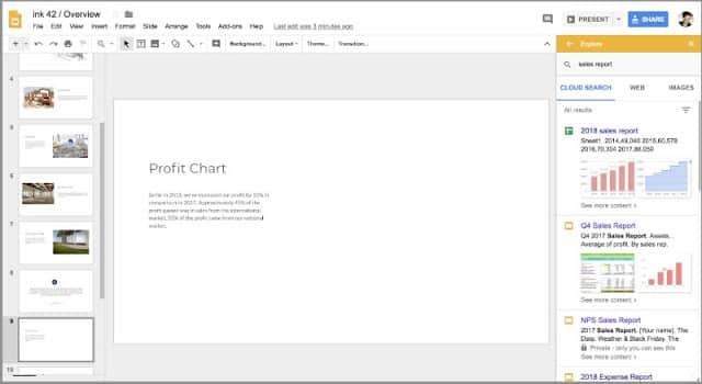 Visual da aba Explorar do Google Drive