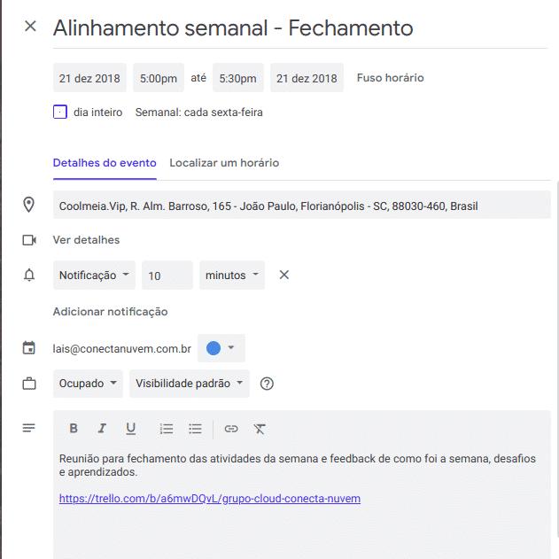 adicione mais detalhes aos eventos da Agenda Google