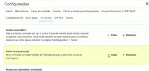 ative Painel de visualização do Gmail